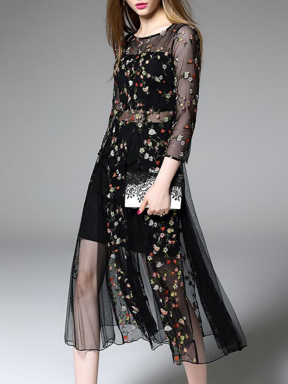 ound Neck See-Through Brocade Polyester Maxi Dress