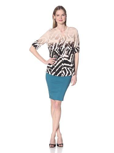Calvin Klein Women's Ombre Print Roll-Sleeve Top (Black/Blush)