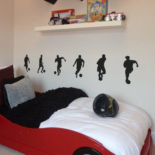 6 Piece Small Footballers Wall Sticker Set Nutmeg Wall Stickers Colour Dark Green Football Bedroom Children Room Boy Small Kids Room Football bedroom ideas uk