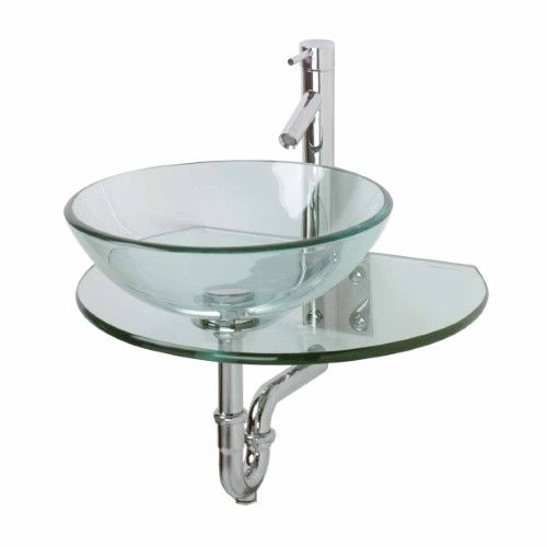 Renovator S Supply Clear Durable Tempered Wall Mount Glass Vessel Console Sink Glass Sink Console Sink Wall Mounted Bathroom Sinks