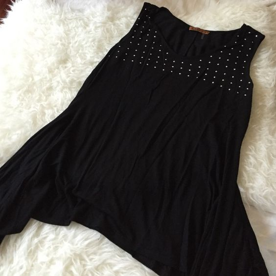 Belldini black top Perfect with leggings wore only twice 85% viscose 5% spandex never wrinkles in excellent condition Belldini Tops Blouses