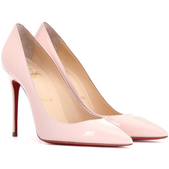 Christian Louboutin Décolleté 100 Patent Leather Pumps ($615) ❤ liked on Polyvore featuring shoes, pumps, pink, christian louboutin pumps, pink pumps, christian louboutin, pink patent pumps and patent shoes