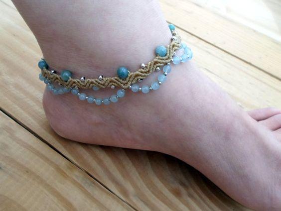 Blue Chalcedony macrame anklet tribal anklet by SelinofosArt