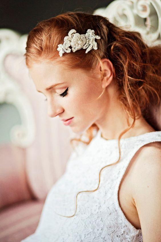 Lace Headpiece, Lace Comb, Bridal Lace Hair Comb, Bridal Accessory, Lace Wedding Comb, Wedding Hair Accessories, Wedding HeadPiece, AMD