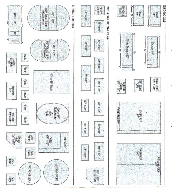 Quarter inch scale templates pg 1 no photos of what the for Furniture templates for room design