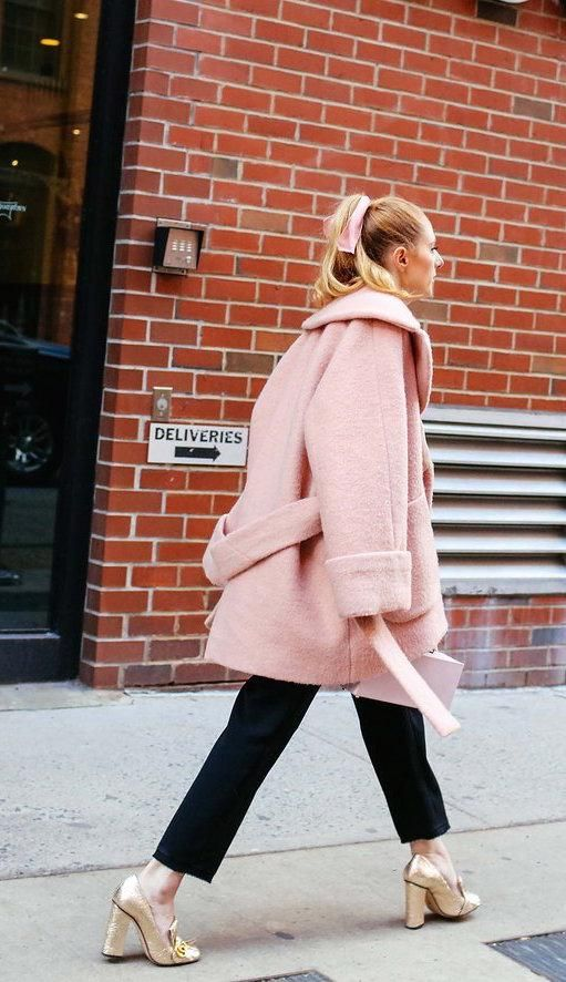 heeled loafers pink coat black pants street style fashion