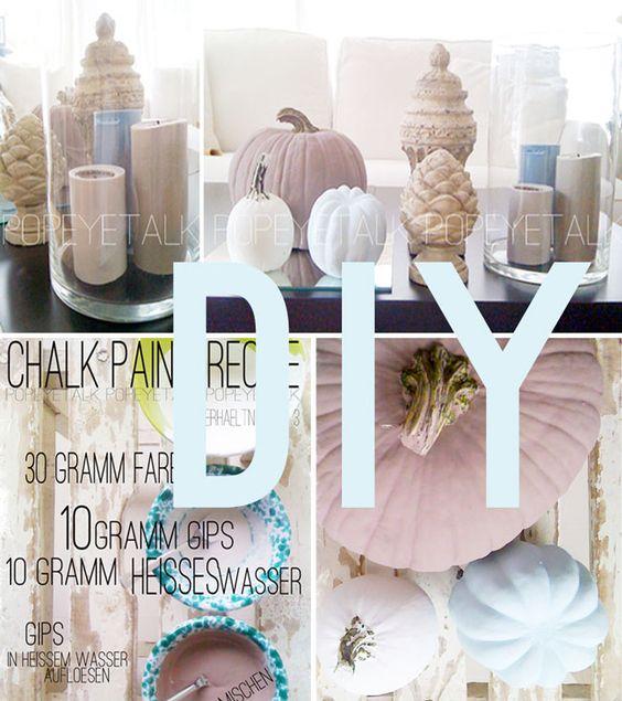 ♥ popeyetalk: Homemade Chalk Paint Pumpkins samt Rezeptur für Kreidefarbe