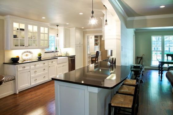 Black granite dream kitchens and open galley kitchen on for Opening up a galley kitchen