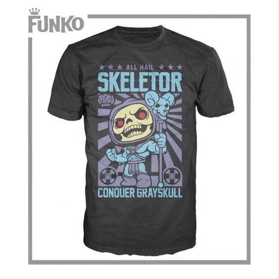 Preview of the upcoming Limited Edition Skeletor Pop! Tee by Funko that will be available at Hot Topic