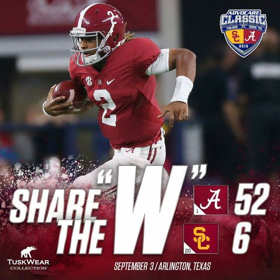 Week 1Alabama over USC 52 - 6 (September 3, 2016). #Alabama #RollTide #Bama…