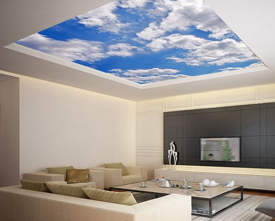 Ceiling STICKER MURAL sky clouds . Will really make the tiny house look roomy! :)