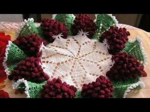 كروشيه مفرش دائرى سهل على شكل عناقيد العنب Youtube Crochet Crochet Blanket Blanket