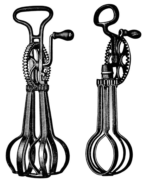 Hand Mixer Silhouette ~ Antique food mixer image free black and white clip art