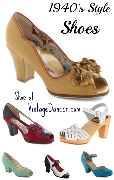 1940's Women's modern vintage shoes come in peep toe, oxford, slingback, sandal, and wedge or wedgie styles. Authentic looking but new for your comfort.