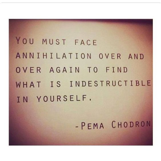 """""""You must face annihilation over and over again to find what is indestructible in yourself."""" - Pema Chödron"""