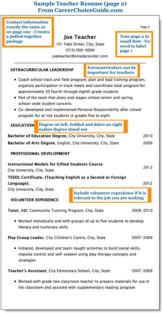 sample teacher resume for elementary school with