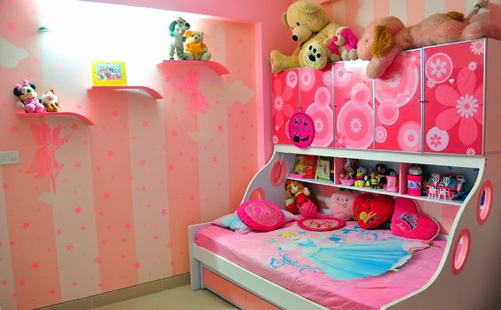 Pink kids bedroom with wallpaper designed by abhishek chadha interior designer in bangalore Home furnitures bengaluru karnataka