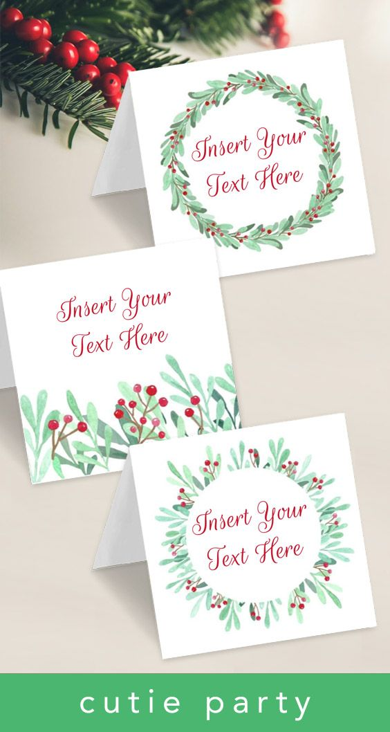 Click To Purchase A Template For Christmas Tent Card With Editable Text Perfect For Buffet Cards Name Place And Favor Bag Tent Cards Favor Bag Toppers Cards