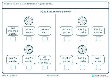 Ficha de horas en analógico para segundo de primaria