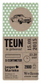 Geboortekaartje retro auto papier    birth announcement car   typografie en letterpress stijl. www.meisenmanneke.nl