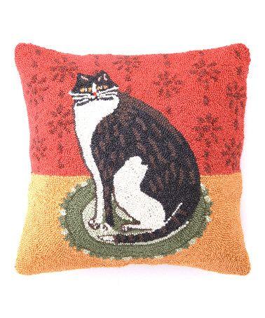 Red Orange Cat On A Round Mat Hook Wool Pillow Zulily Hooked Pillow Wool Pillows Rug Hooking
