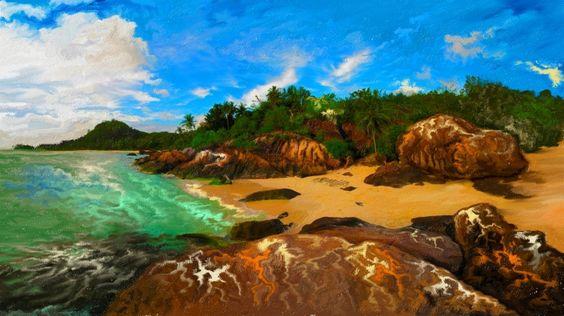 沖縄のPrivateBeachを以前に描きました、その絵を色編集加工してみました。  Singers Unlimited - Nature Boy http://youtu.be/7XeUm4iHIHQ