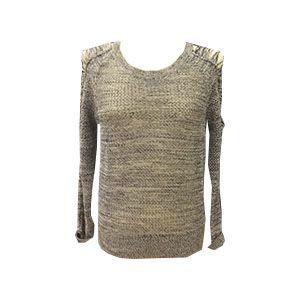 Jersey punto calado con detalles en hombro y manga y cuello redondo.