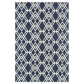 """Bring refined elegance to your dining room ensemble or living room seating group with this hand-woven cotton rug, showcasing a geometric tiled motif in a navy palette.  Product: RugConstruction Material: 100% CottonColor: Navy and ivoryFeatures:  Hand-wovenMade in IndiaAccommodates: 0.25"""" Note: Please be aware that actual colors may vary from those shown on your screen. Accent rugs may also not show the entire pattern that the corresponding area rugs have.Cleaning and Care: Clean spills ..."""