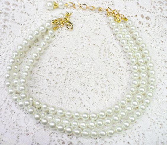 OOAK Handmade 3 Strand White Glass PEARL Choker by ElegantiTesori