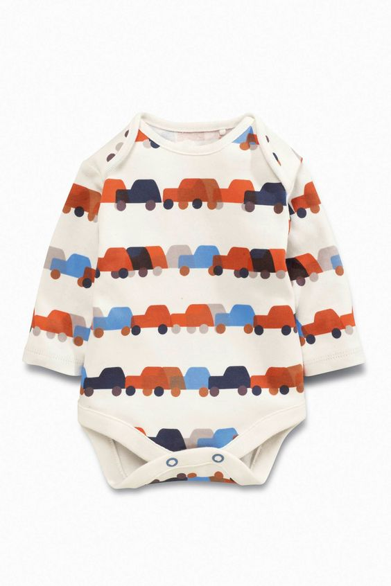 Buy Navy Digger Print Long Sleeve Bodysuits Three Pack (0mths-2yrs) from the…