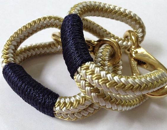 Gold and White Nautical Rope Bracelet with Navy Wrap and by Buoy6, $19.95