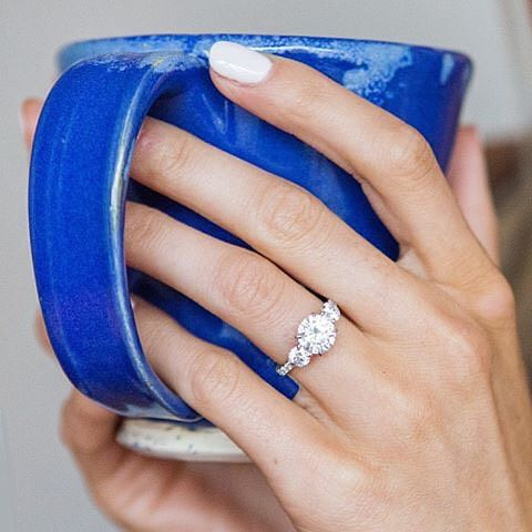Are you game day ready? It's sure to be a-〽️aize-ing! But first, #coffee! #GoBLUE!  #ajaffe #threestone #threestonering #engagementring (Style ME 1854Q) #AbraJewelry #exclusive #AbraArtists #repost #fall