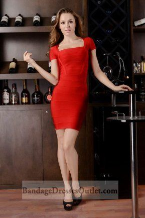 Sale Red Square Neck Bandage Dress With Cap Sleeves