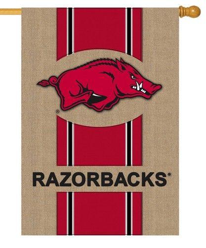 Arkansas Razorbacks Burlap House Flag
