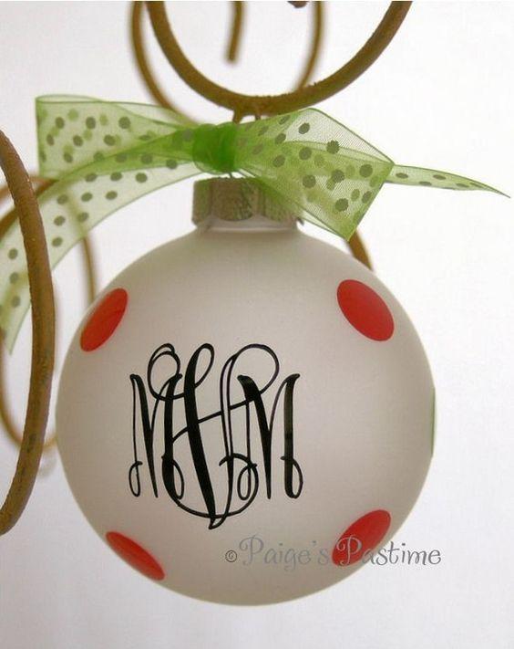 Monogram ornaments with vinyl