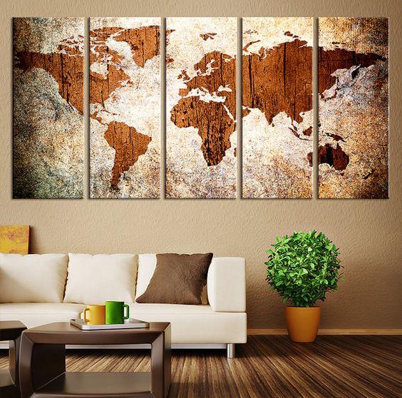 Impresión arte - mapa del mundo sobre fondo de Grunge - gran pared madera arte mundo mapa arte de la lona, mapa del mundo más grande   ◆ TAMAÑO