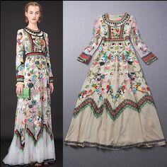 spring fashion ricamato garza vestito delle donne manica lunga o collo vintage fiore del ricamo maxi vestito xb, Cina abito chemise Fornitori
