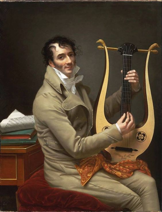 Adèle Romany (French painter) 1769 - 1846 - Joseph-Dominique Fabry Garat Playing a Lyre Guitar, ca. 1808: