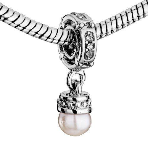 Pugster Elegant Pearl Dangle Charm Beads Fit Pandora Charm Bead Bracelet $9.99 #bestseller