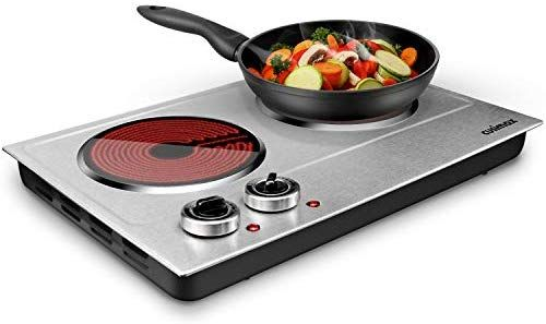 Cusimax 1800w Ceramic Electric Hot Plate For Cooking Dual Control Infrared Cooktop Portable Counte Electric Cooktop Electric Hot Plate Hot Plates For Cooking