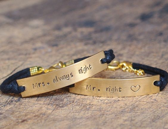 Matching Bracelet Couples bracelet stamped от Stampedbracelet