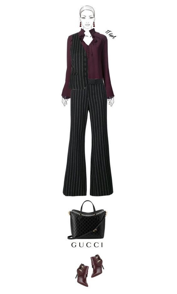 Office outfit: Black - Marsala by downtownblues on Polyvore #officewear  #necktie #vest #flares #pinstripes  #tote  #ankleboots  #RachelZoe  #Gucci