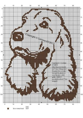 chien - dog - cocker - broderie - cross stitch - Point de croix - Blog : http://broderiemimie44.canalblog.com/
