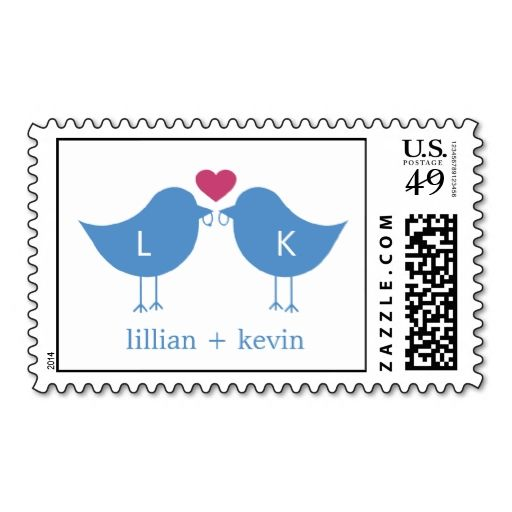 Monogram Birds Postage Stamp - Blue/Pink Postage