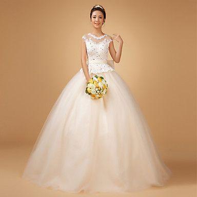 Princess Jewel Sweep/Brush Train Wedding Dress (Lace/Organza) - USD $ 179.99