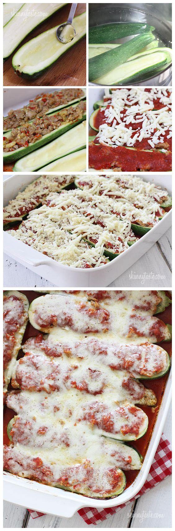 cookglee recipe pictures: Sausage Stuffed Zucchini Boats ...