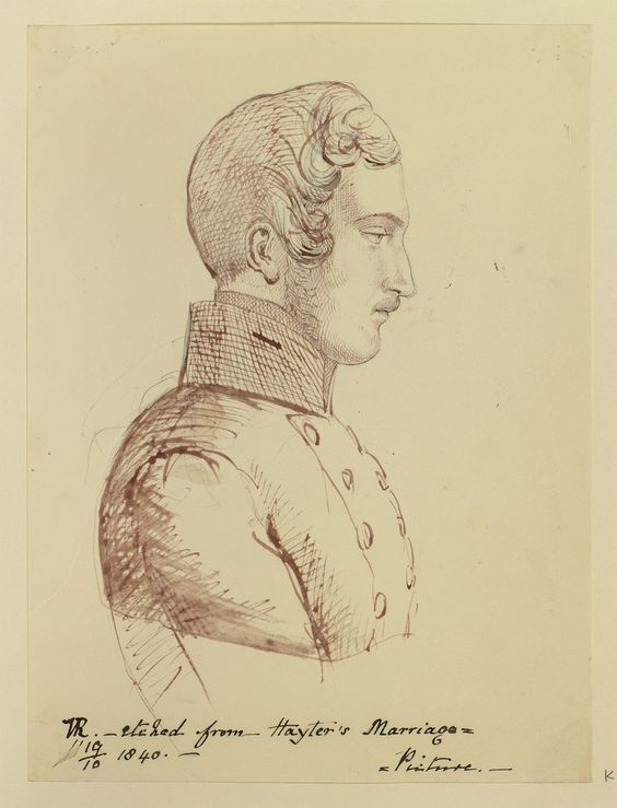 Creator: Queen Victoria, Queen of the United Kingdom (1819-1901) (artist) Creation Date: dated 19 Oct 1840 RCIN 981583 Description: Head and shoulders of Prince Albert, profile right, from Hayter's Marriage picture.