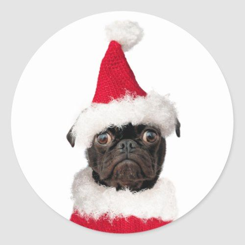 Cute Festive Christmas Black Pug Puppy Santa Classic Round Sticker