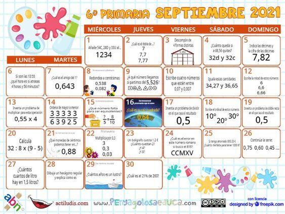 Calendario Sexto ABN – Septiembre 2021