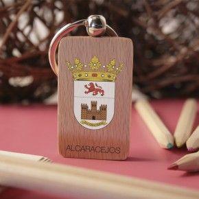 Llavero de madera con escudo de Alcaracejos a color marcado en digital  #ValleDeLosPedroches http://delospedroches.es/es/de-madera/43-llavero-escudo-alcaracejos-color-ll17.html